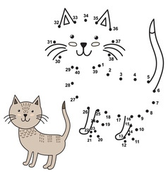 Connect the dots to draw the cute cat and color it vector