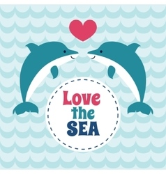 Love the sea summer card with pair of love vector