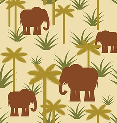 Elephant and palm military camouflage background vector