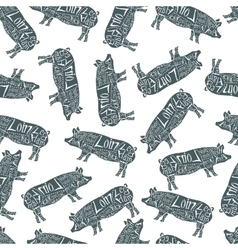 American cuts of pork seamless pattern vector