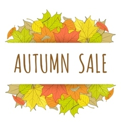 Autumn sale label with hand drawn fallen leaves vector