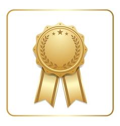 Award ribbon gold icon laurel wreath vector image vector image
