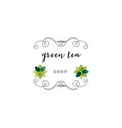 Badge as part of the design - green tea sticker vector