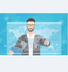 Bearded man trader touching the computer screen vector