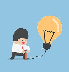 Businessman pumping air into idea balloon vector