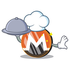 Chef with food monero coin character cartoon vector