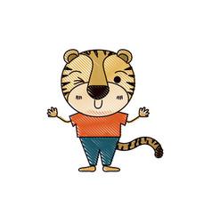 Color crayon silhouette caricature of cute tiger vector
