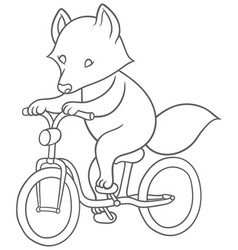 cute cartoon raccoon riding a bicycle vector image vector image