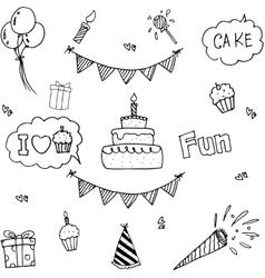 Cute element party doodle vector