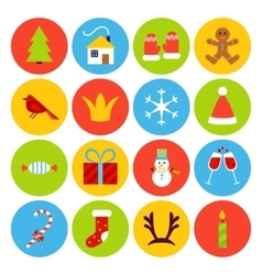 Flat new year icons vector
