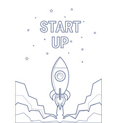 flying rocket business startup concept banner with vector image vector image