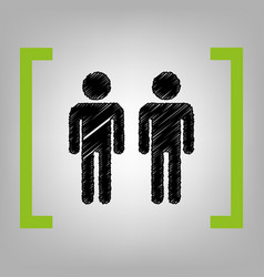 Gay family sign black scribble icon in vector