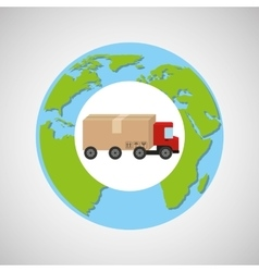 Globe world truck delivery boxes vector
