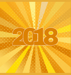 Happy new year 2018 label on yellow background vector