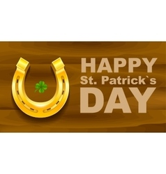 Happy St Patricks Day Golden Horseshoe and vector image vector image