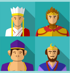 journey to the west character portrait in flat vector image vector image