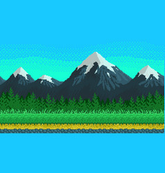pixel art seamless background with mountains vector image vector image