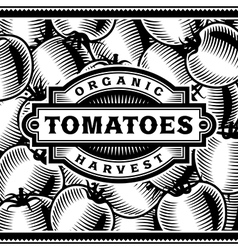Retro Tomato Harvest Label Black And White vector image