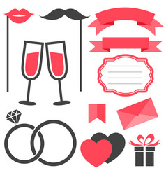 set of love and wedding elements isolated on white vector image
