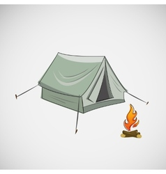 Stock tent and a bonfire on light background vector
