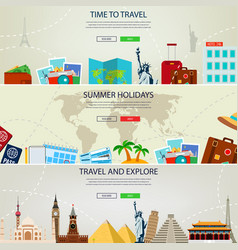 three travel and tourism headers banners summer vector image vector image
