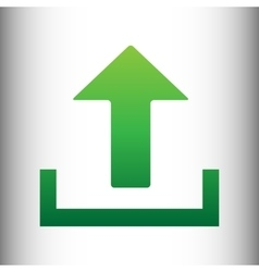 Upload sign green gradient icon vector
