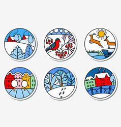 Winter urban and nature landscapes icons set in vector