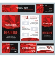 Corporate identity red polygonal banners and vector image