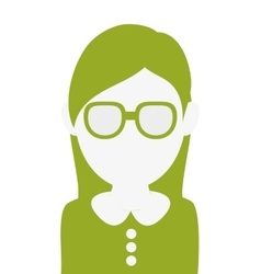 Faceless woman with glasses portrait icon vector