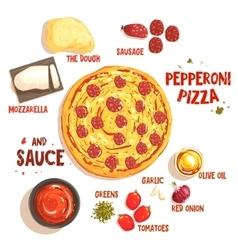 Preparing pizza pepperoni set of ingredients vector