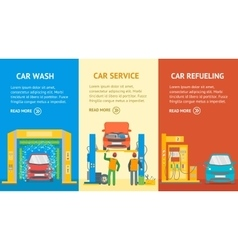 Car service automobile banner flat design style vector