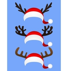 Set of funny hat santa claus with reindeer horns vector