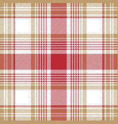 Beige red white check plaid seamless pattern vector