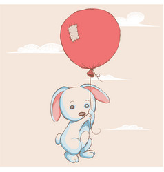 Little rabbit flying with balloon vector