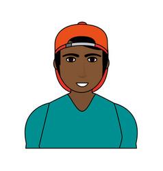 Color image cartoon half body brunette man with vector