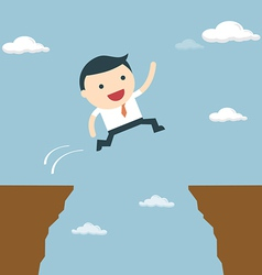 Businessman jumping over the cliff to goal vector image