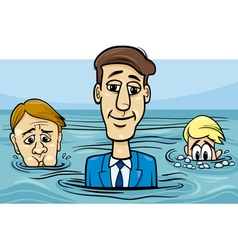 Head above water saying cartoon vector