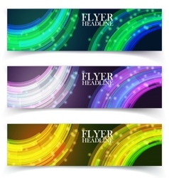 Banners with colorful cells vector