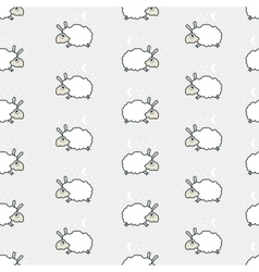 Seamless cute sheep pattern vector