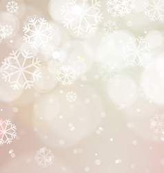 Abstract bokeh light with snowflakes vintage vector
