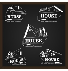 House logo template realty theme icon vector