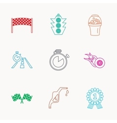 Race flags and speed icons winner medal signs vector