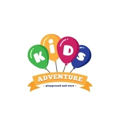 Bright kids playground logo with balloons vector