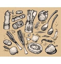 cooking food set of elements for restaurant menu vector image