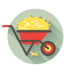 Wheelbarrow flat shadow vector