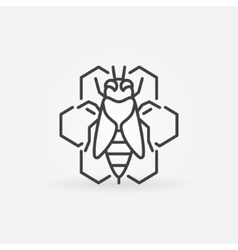 Bee and honeycomb outline icon vector