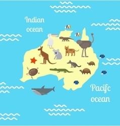 Australia animals world map for children vector