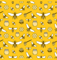 beekeeping colored seamless pattern apiculture vector image