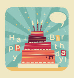 Birthday sweet cakeretro card on old paper backgro vector