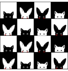 Black White Cat Rabbit Chess board vector image vector image